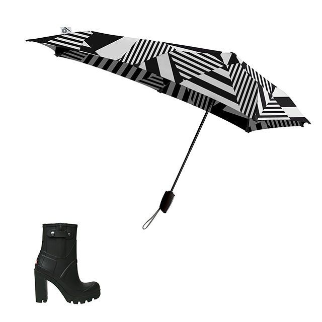 Saturday: Date Night - Hunter block-heel rainboot, $195; kirnazabete.com; Senz original storm umbrella, $89; bergdorfgoodman.com