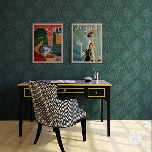 Designer Retro Wallpaper Look using Gatsby Glam Art Deco Wall Stencils - Royal Design Studio