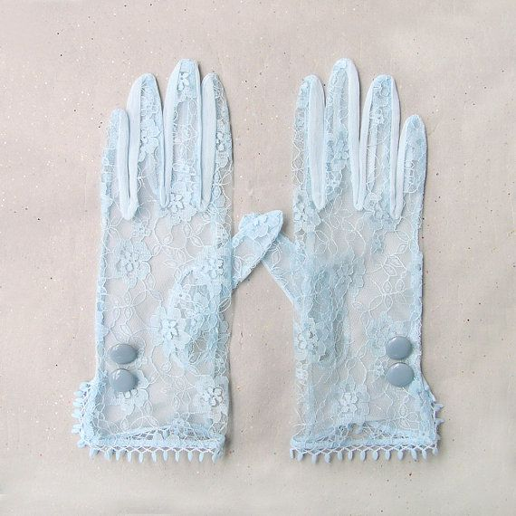 Sheer Gloves, Blue Lace Gloves, Lace Formal Gloves, Bridal Lace Gloves, Bridesmaid Gift, Gatsby Accessories with Metal Enamel Buttons