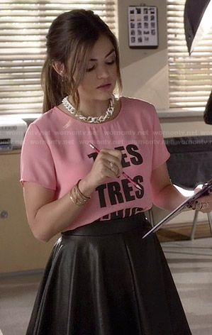 Aria's pink 'Tres Tres Chic' top and leather skirt on Pretty Little Liars.  Outfit Details: http://wornontv.net/46938/ #PLL