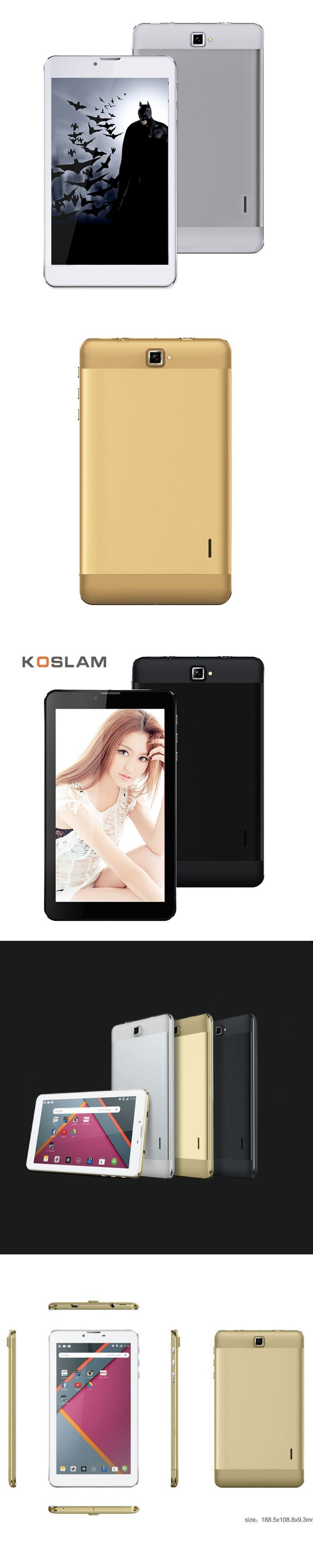 KOSLAM New 7 Inch 3G Phone Call Android Tablet PC Tab Pad IPS Quad Core
