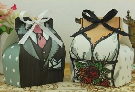 Fun Bride & Groom Boxes with Ribbons