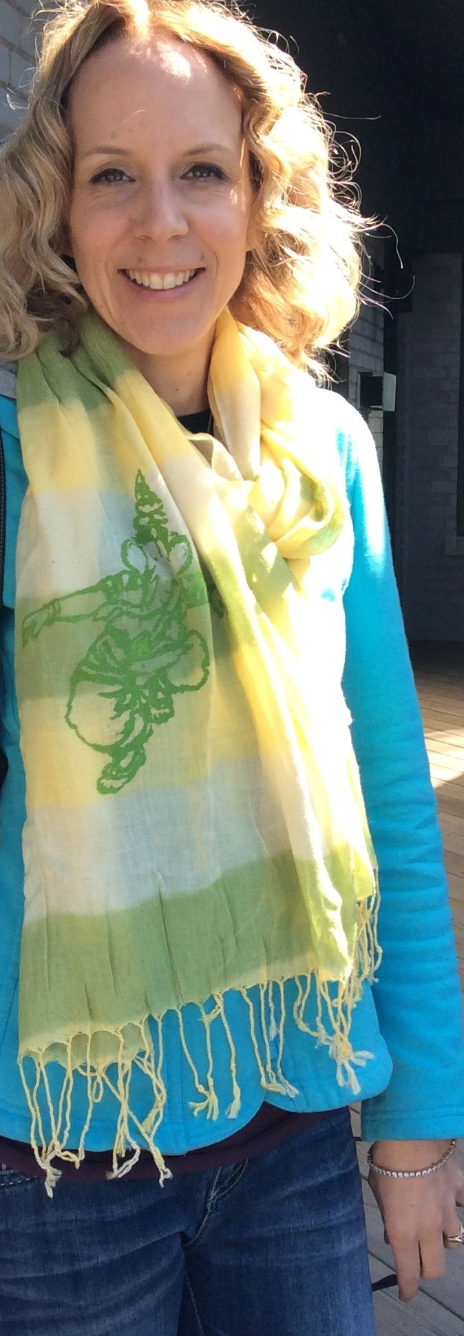 Melissa West is wearing our New Hand printed Dancing Ganesh Scarf in Shades of Spring Green.  http://squeezed.ca/shop/category/scarves