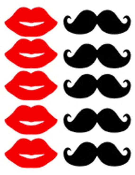 Photo Booth Props Mustache And Red Lips Printable Download