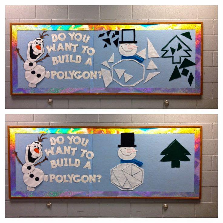 Frozen-themed bulletin board; high school math; interactive; geometry