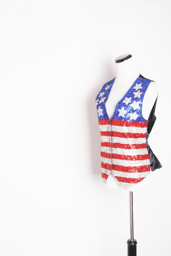 American Flag Clothing / Vintage Vest / Vintage by aiseirigh, $162.00