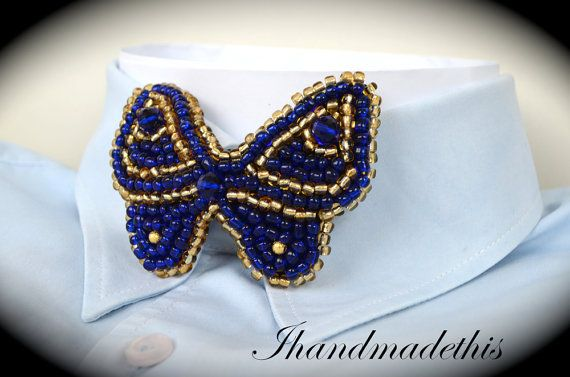 Blue beaded butterfly bowtie beads embroidery by Ihandmadethis