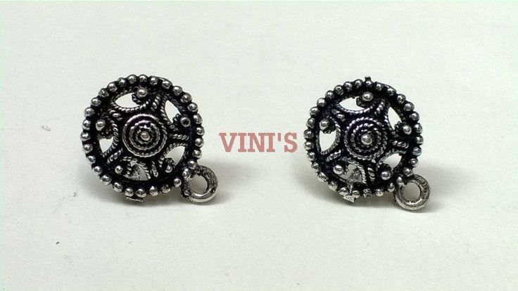 SH14 Antique silver stud base with loop Stud size 15mm, With Rubber stopper Rs- 24/pair