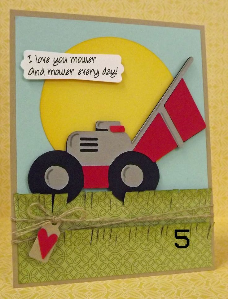 "masculine card by Mimi Hornberger... (cute play on words - ""mower"" = ""more"")"