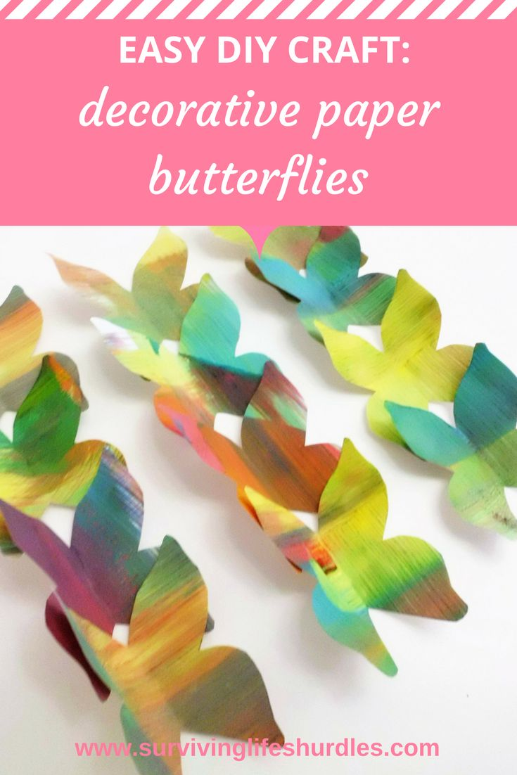 Fun and really easy DIY craft for adults or kids.  Decorative paper butterflies, using paints and bright colours, inspired by 'The Very Hungry Caterpillar' and the illustrations by Eric Carle art and craft project.