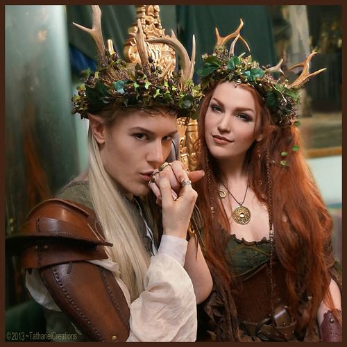 """Elven King and Queen at the Samhain Ball » LARP costume. myelvenkingdom: """"My dear and ever so talented, Ian Hencher and myself at the throne -wearing the new woodland crowns I made for us!"""""""