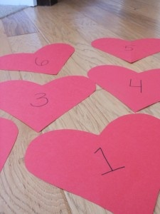 Valentines Heart Hop a fun way to get your toddler moving! From Toddler Tuesday