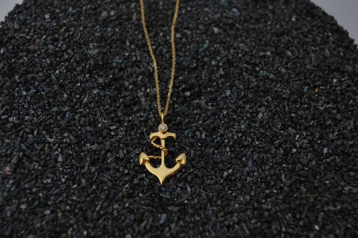 Anchor Gold Necklace Solid 18k Gold Necklace Graduation Gold Necklace Travel Gold Necklace Aqua Gold Necklace Nautical Gold Necklace by ViazisJewelry on Etsy