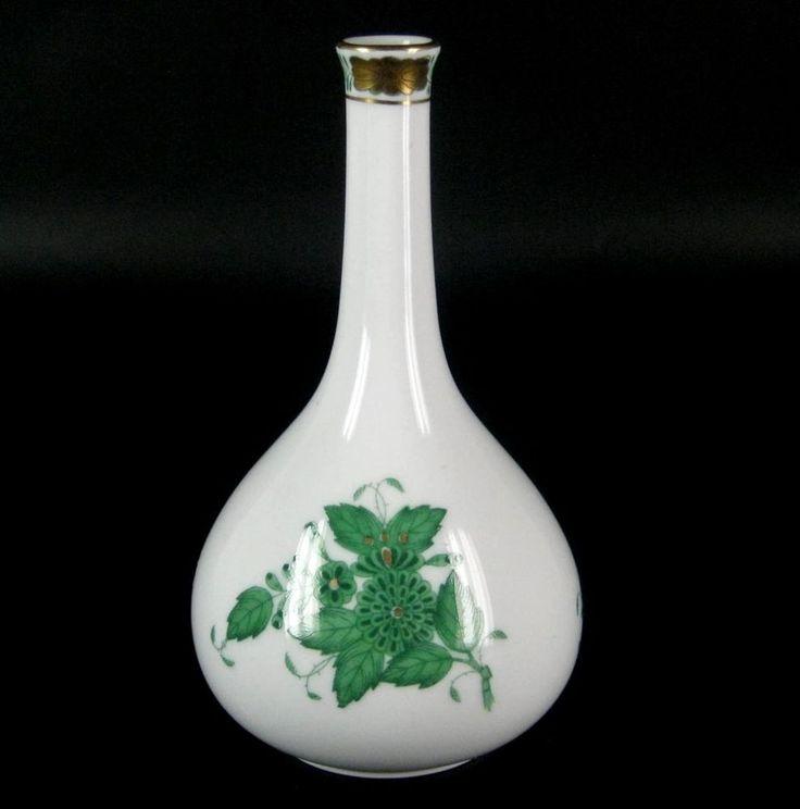 Herend Porzellan Vase Dekor Apponyi grün Chinese Bouquet Green Hungary 13cm
