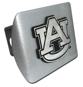 Auburn University Tigers Brushed Chrome AU Logo Trailer Hitch Cover is for the Auburn University or NCAA Auburn Tigers sports fan and comes on a silver background with large AU logo.