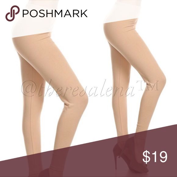 High waist soft-brush Khaki Leggings Soft buttery knit leggings. You will love the way these fit & feel.  Made of 92% Polyester/8% Spandex  Size:  OSFM   PRICE IS FIRM UNLESS BUNDLED!!  YOU MAY BUNDLE FOR A DISCOUNT!! TheresaLena Boutique Pants Leggings