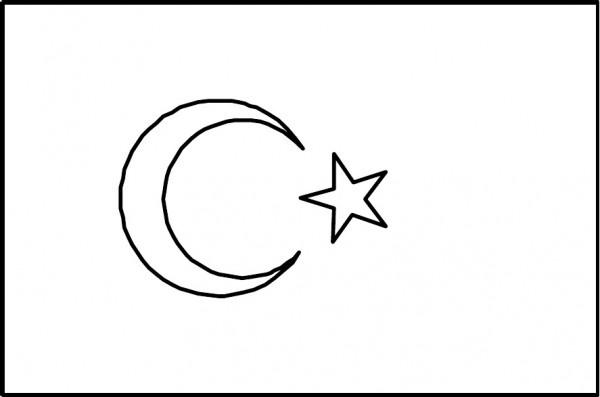 Okul Öncesi öğrencileri için Türk Bayrağı Boyama Sayfası