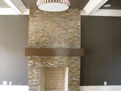 Fireplace Glass Tile- looking clean