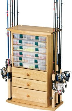 10-Rod/3-Drawer Rack with Utility Storage, Fishing Rod Racks, Furniture, Home & Cabin : Cabela's- maybe out of old dresser?