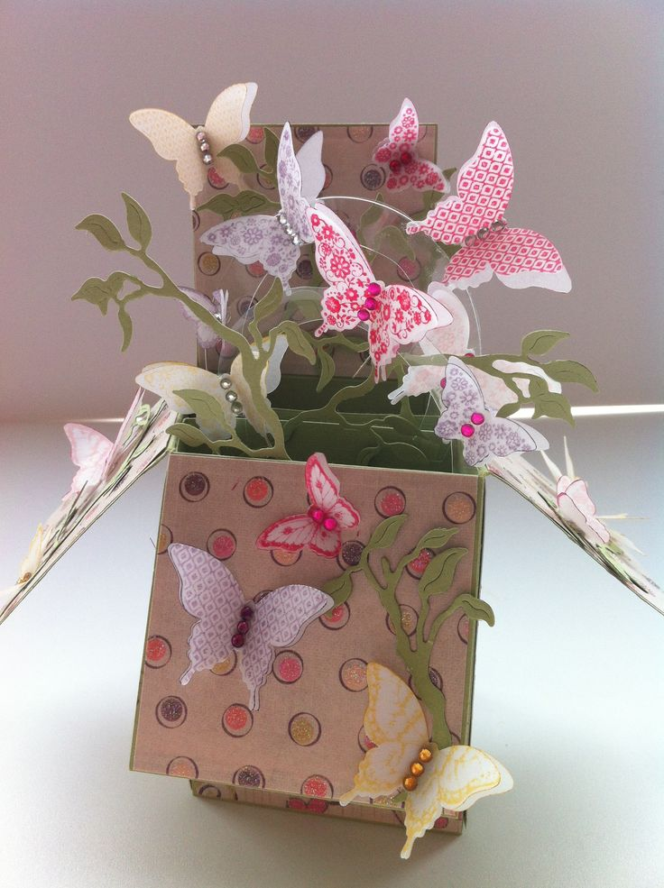 Pop up Box Card with flying butterflies