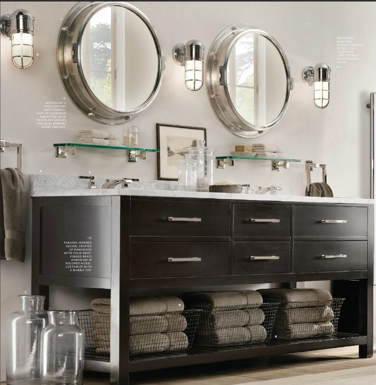 bathroom lights, mirrors, vanity -- love the nautical theme -- such a fun place. Just add teal ...
