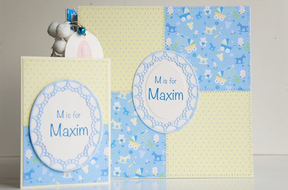 Personalised Baby Shower Gift, Baby Boy Gift Set, Baby Memory Book & Welcome Baby Card, Custom Order Scrapbook Album