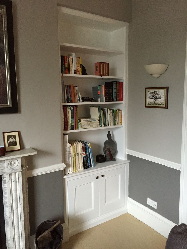 Handmade shelving, alcove unit and cabinets by Oliver Hazael Bespoke Carpentry in Bath, UK