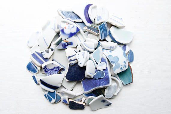 Bulk 100 Pieces of Japanese Blue PotteryBlue Beach