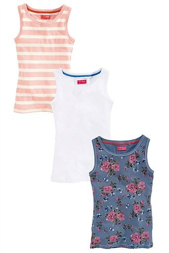 """Girls Clothing Online - 3 to 16 years - """"Next Pink, Floral And Stripe Vests Three Pack (3-16yrs)"""""""