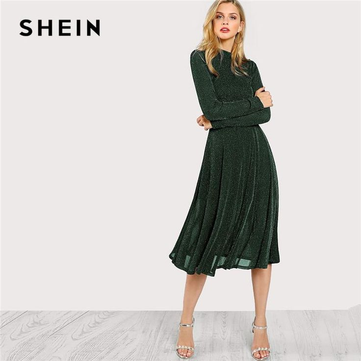 Shein Green Elegant Party Mock Neck Glitter Button Fit And Flare Solid Natural Waist Dress Autumn Minimalist Women Dresses