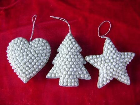 Handmade Christmas decorations - these white beads are on sale at Hobby Lobby all the time.
