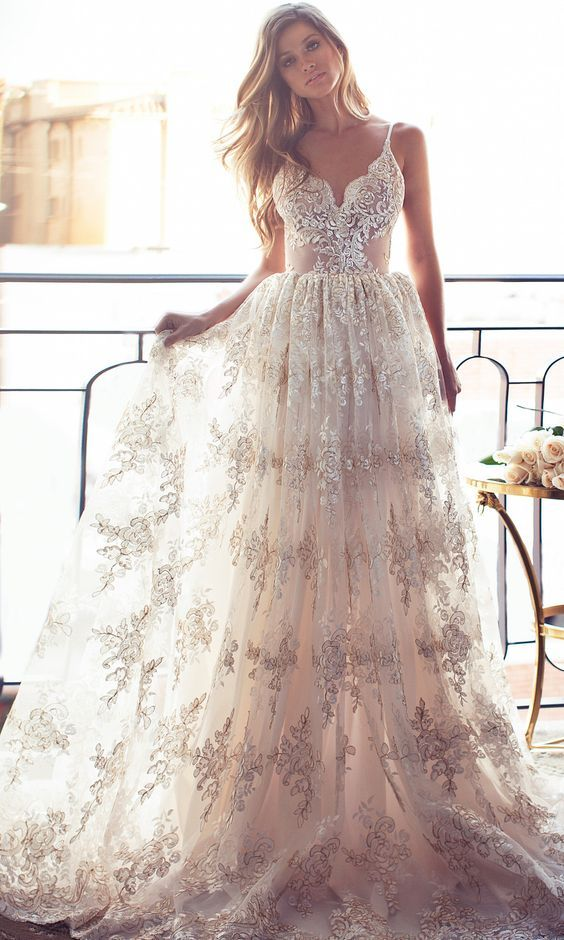 Another mettallic printed wedding dress idea; Featured: Lurelly