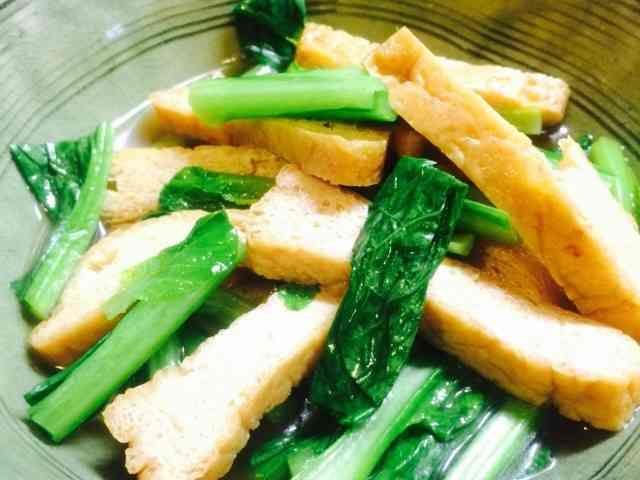 5分でできる。簡単小松菜と厚揚げの煮物の画像