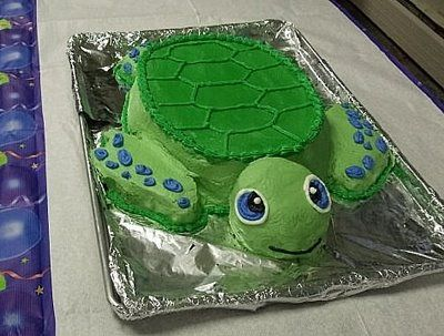 turtle cake that is such a cute cake! that would be perfect for Ryders party!