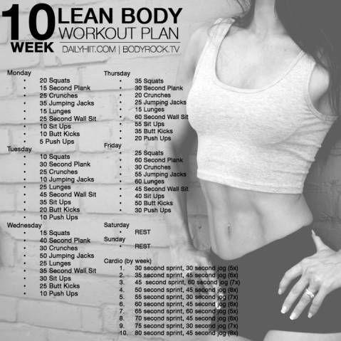 10 Week Lean Body Workout Plan | Hiit Blog
