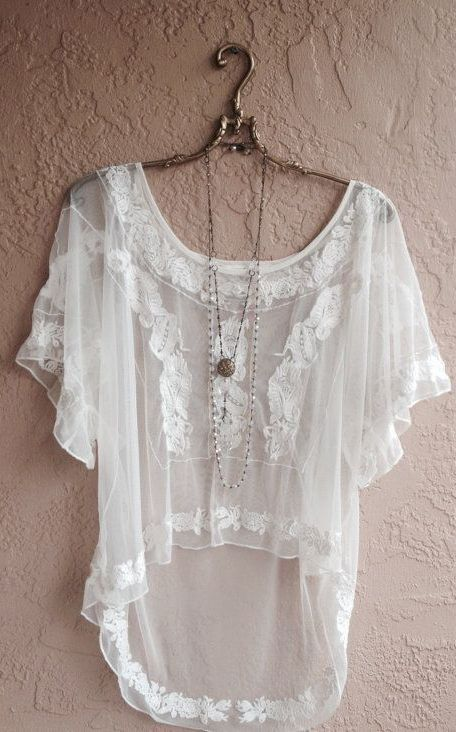 White Embroidered Sheer hi low peasant blouse