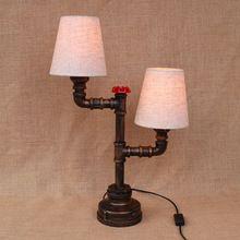 Винтаж ретро-дизайн черный прикроватные 2 огни ткань абажур настольная лампа e27 светильники бра для спальни мастерской мастерская офиса