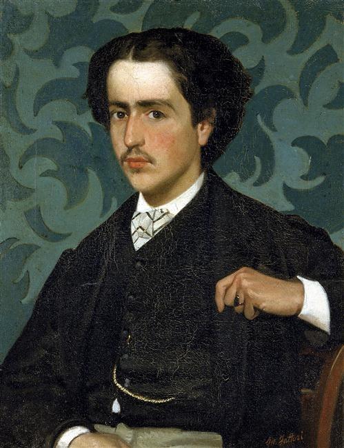 """c.1865. Giovanni Fattori. """"Portrait of a Young Man."""" Galleria d'Arte Moderna in Palazzo Pitti, Florence."""