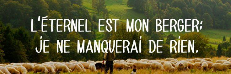 L'Eternel est mon berger: je ne manquerai de rien. Psaumes 23:1