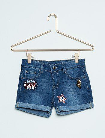 Short en jean stretch avec patchs                             denim Fille adolescente   - Kiabi