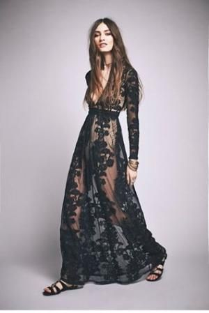 Temecula Maxi Dress | Free People Dramatic sheer net maxi with allover floral embroidered detailing. by dona