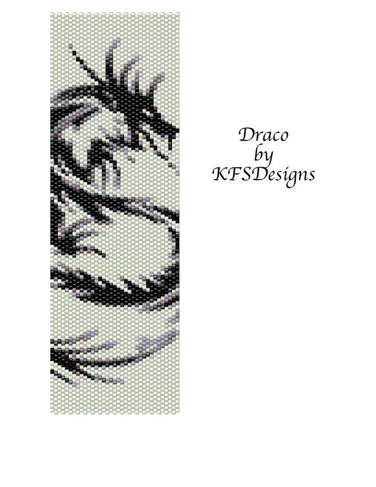 Free Peyote Stitch Beading Patterns | Draco - Peyote Stitch Cuff Bracelet Beading Pattern (Buy 2 Patterns ...