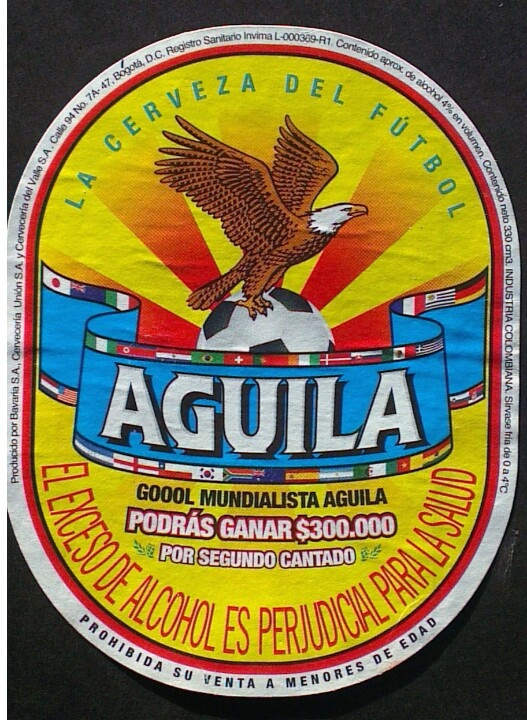 Aguila beer, 4,0%, bavaria brewery, Colombia