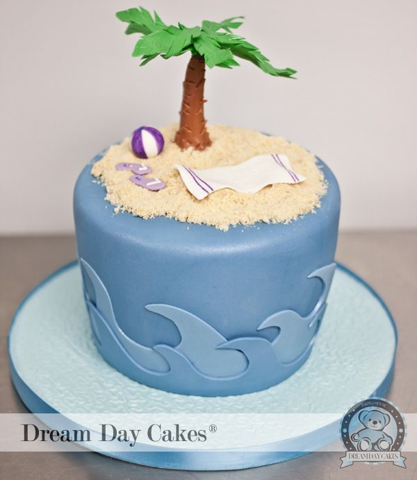 Beach themed cake This is what I wanted the damn tree to look like!! lol