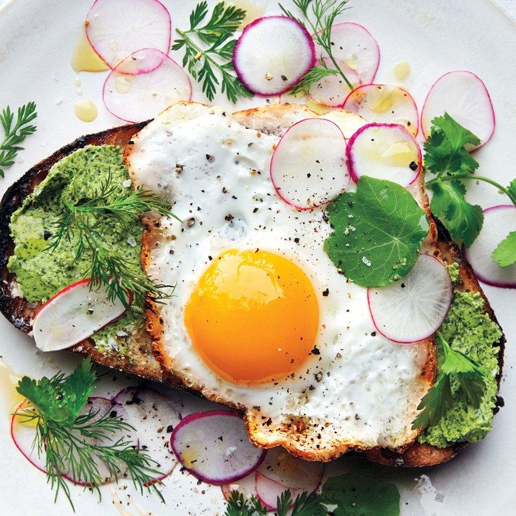 Fried Egg on Toast with Salted Herb Butter and Radishes. How to make herb butter, which you can use with your fried eggs