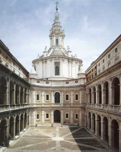 Sant' Ivo alla Sapienza, 1642-1650, designed by Francesco Borromini. This Roman Baroque church is a unique work of architecture. It is somewhat hidden in the city; one must step into an enclosed court yard to see the building.