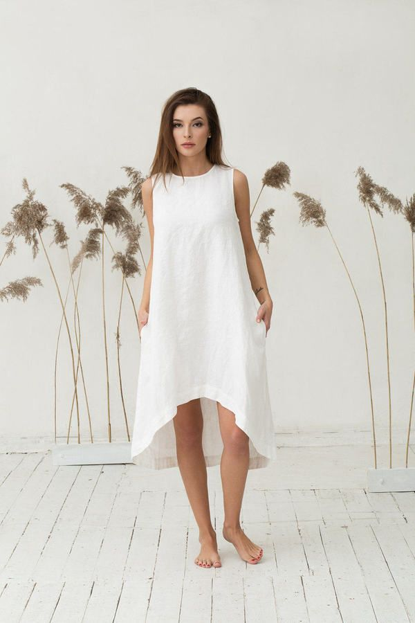 a1c52d0338a5c Etsy White linen dress. Loose fit dress. Stone washed. Womens clothing.