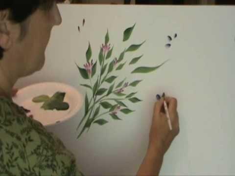 "Dina Valencia - Técnica Una Pincelada ""Flor de 5 Pétalos"" - YouTube"