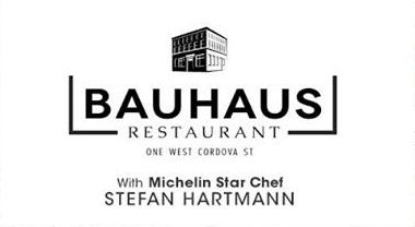 Bauhaus Restaurant's Logo : This is Emblems and letter form style. The building…