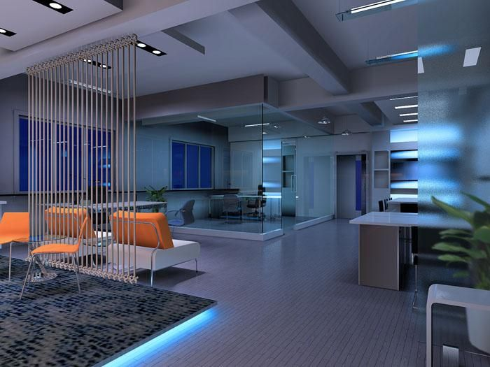 Consider a modern #office design with advanced lighting features. (Via climatesys.com) #Decor